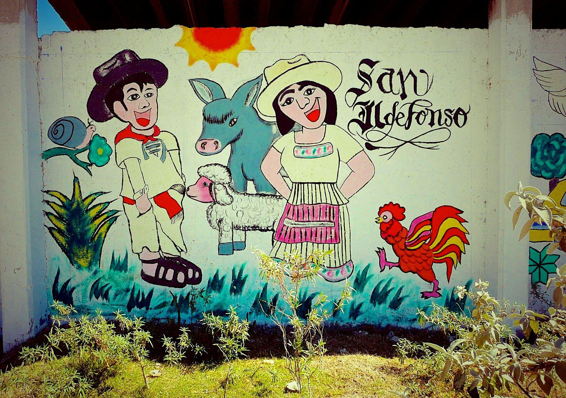 Wandbemalung in der Stadt San Ildefonso